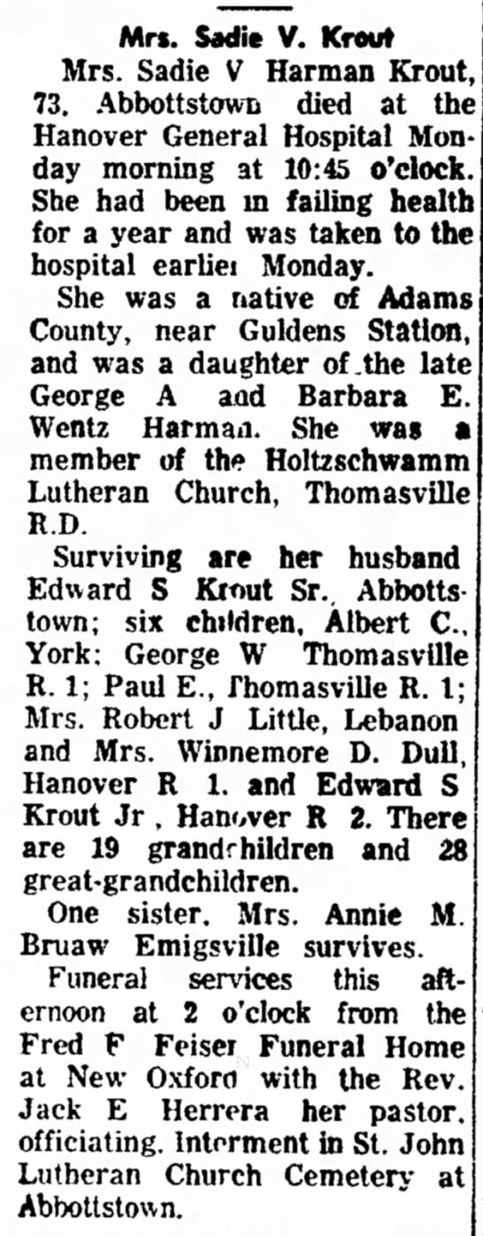 Sadie V Harman Krout obit-Nov 1963 -