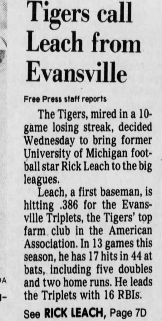 Tigers call Leach from Evansville -