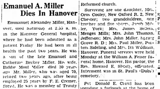 Emanuel A Miller obit-Dec 1949-Husband of Biddie Moul Miller -