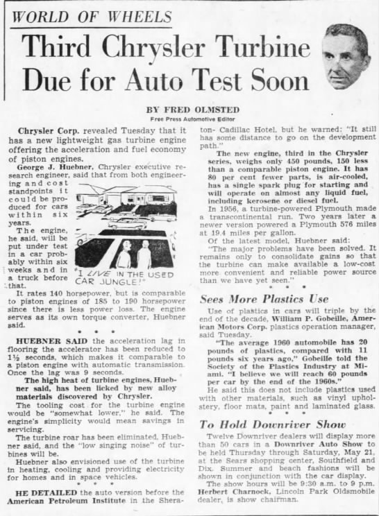 """Fred Olmsted: """"World of Wheels: Third Chrysler Turbine Due for Auto Test Soon"""" -"""