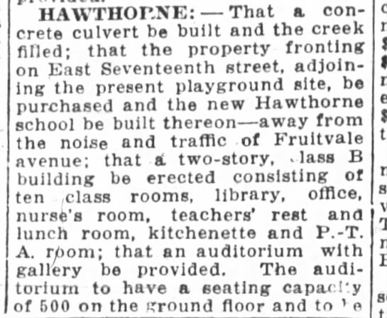 New Hawthorne School to be built to replaced the one destroyed by fire. Sep 04, 1923 -