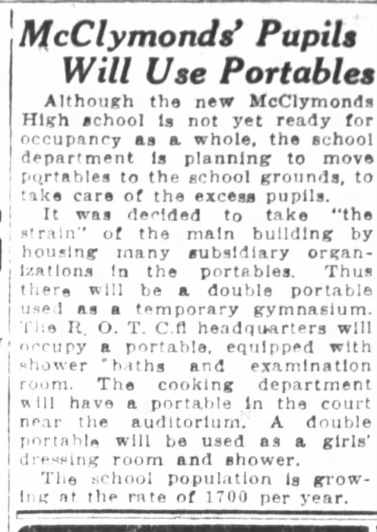 McClymonds Pupils will Use Portables - Nov 23, 1923 -