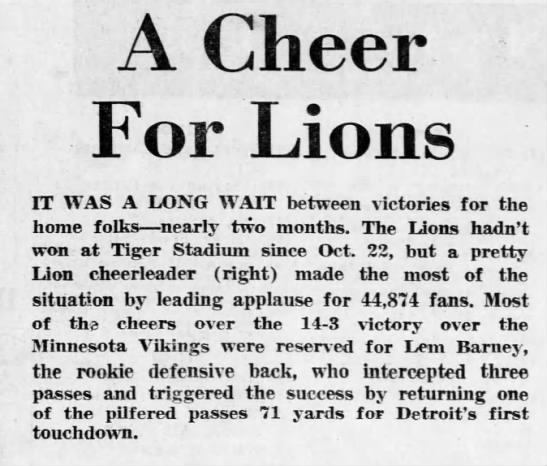 A Cheer For Lions -