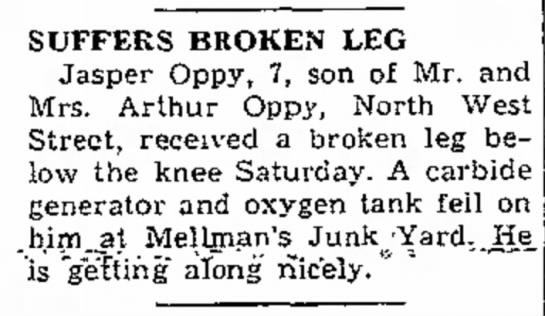 Jasper Oppy - SUFFERS BROKEN LEG Jasper Oppy, 7, son of Mr....