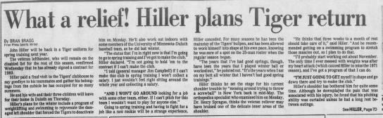 What a relief! Hiller plans Tiger return -