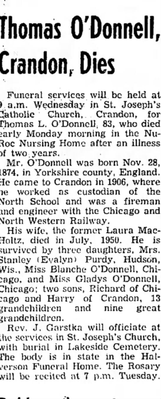 Thomas O'Donnell Obituary