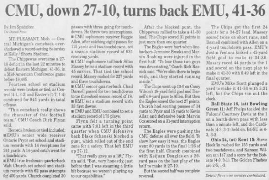 CMU, down 27-10, turns back EMU, 41-36 -