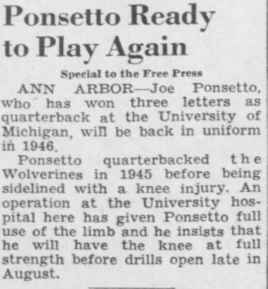 Ponsetto ready to play again -
