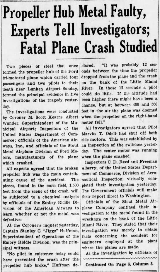 8/11/1931  follow up article plane crash -