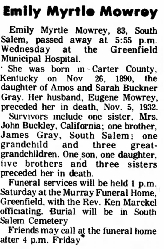 Myrtle's obituary, Hillsboro Press-Gazette, Aug 15, 1974 -