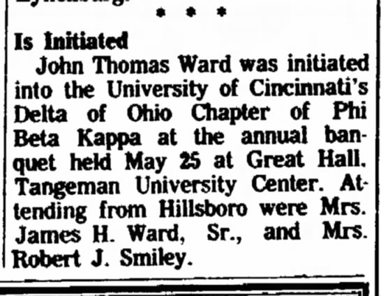 John Thomas Ward initiated into U of C Delta of Ohio Chapter of Phi Beta Kappa -
