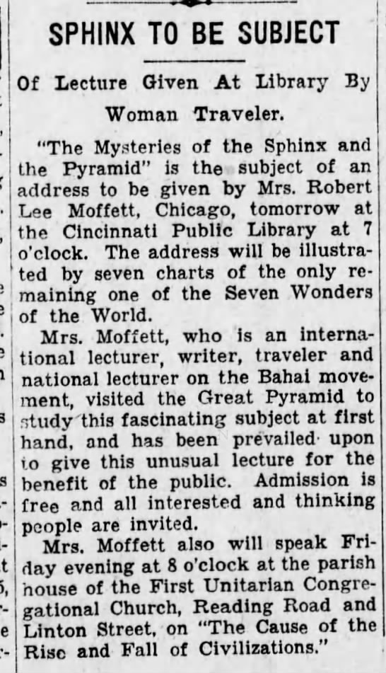 """Baha'i Ruth Moffett talls - Sphinx and """"Cause of the Rise and Fall of Civilizations"""" -"""