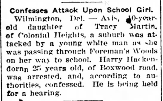 Avis Martin - age 10 attacked -