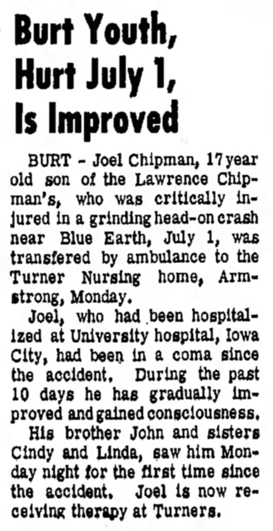 Joel Accident Moved to Care Center September, 1965 -