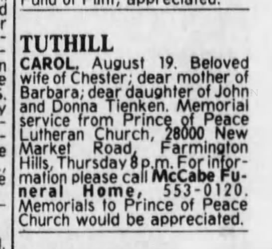 Death Notice of Carol Tienken Tuthill - Detroit Free Press pub Thursday Aug 21 1986 pg 67 -