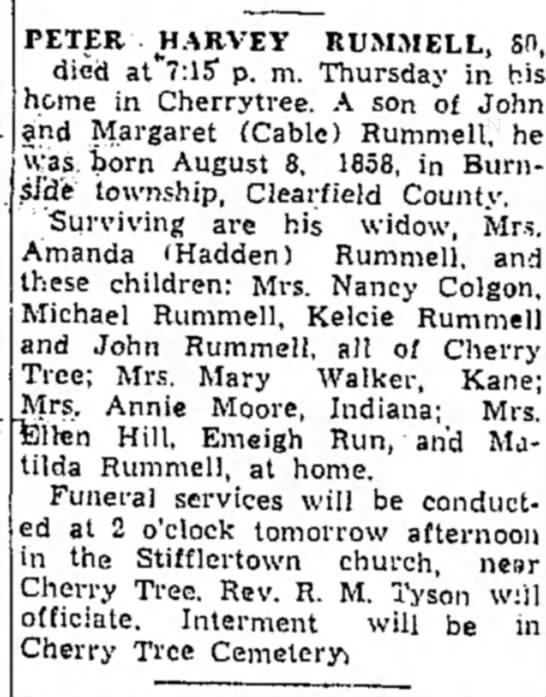 Obituary - Rummel, Peter Harvey -