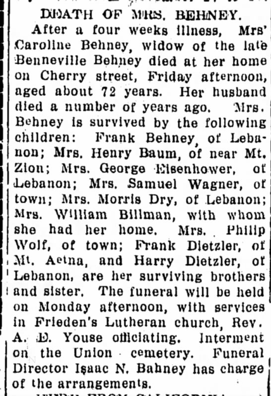 Lebanon Daily News (Lebanon, PA)..11 May 1912.. Page 16 - DUOATH OF MiRlS. BEHiNEY. After a four weeks...