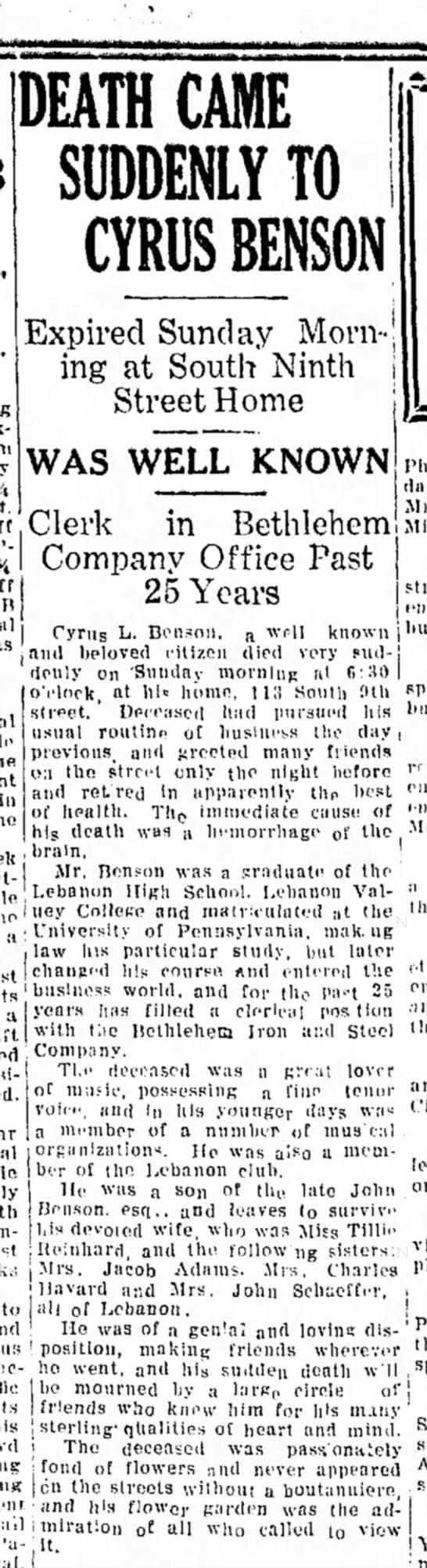 1923 April 30 Cyrus L. Benson -