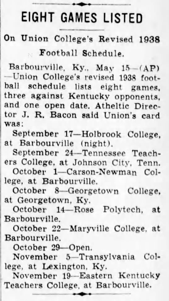 Eight Games Listed On Union College's Revised 1938 Football Schedule -