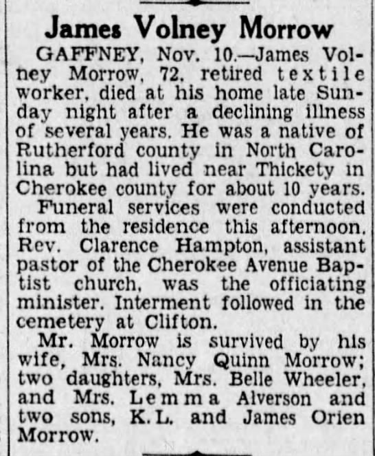 JamesVolneyMorrowobitTheGreenvilleNews11/11/1942Pg14 -