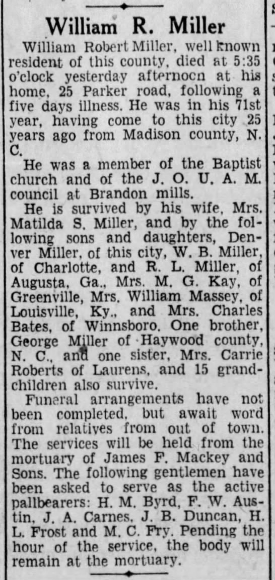 WilliamRobertMillerobit2TheGreenvilleNewsGreenvilleSC8 2 1932Pg5 -