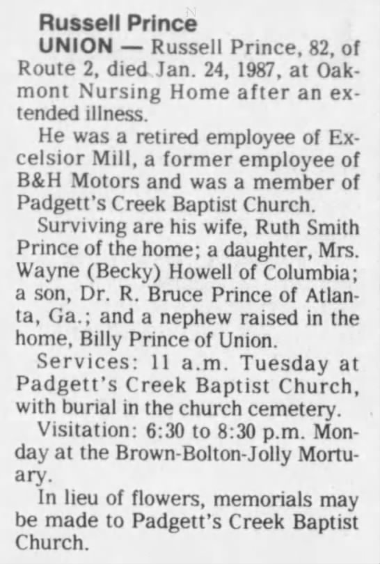 RussellPrinceobitTheGreenvilleNewsGreenvilleSC1 26 1987Pg7 -