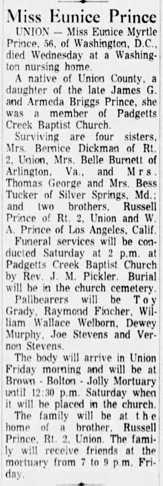 EuniceMyrtlePrinceobitTheGreenvilleNewsGreenvilleSC7 15 1966Pg45 -