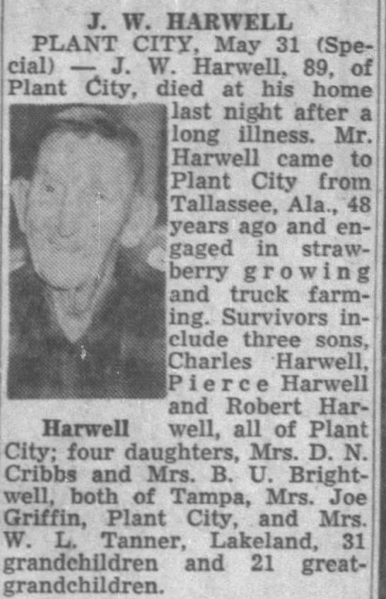 Obituary for J. W. HARWELL (Aged 89) -