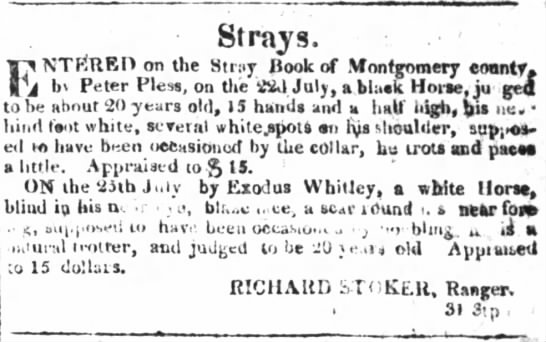 Exodus Whitley in Montgomery County, NC in 1820. -