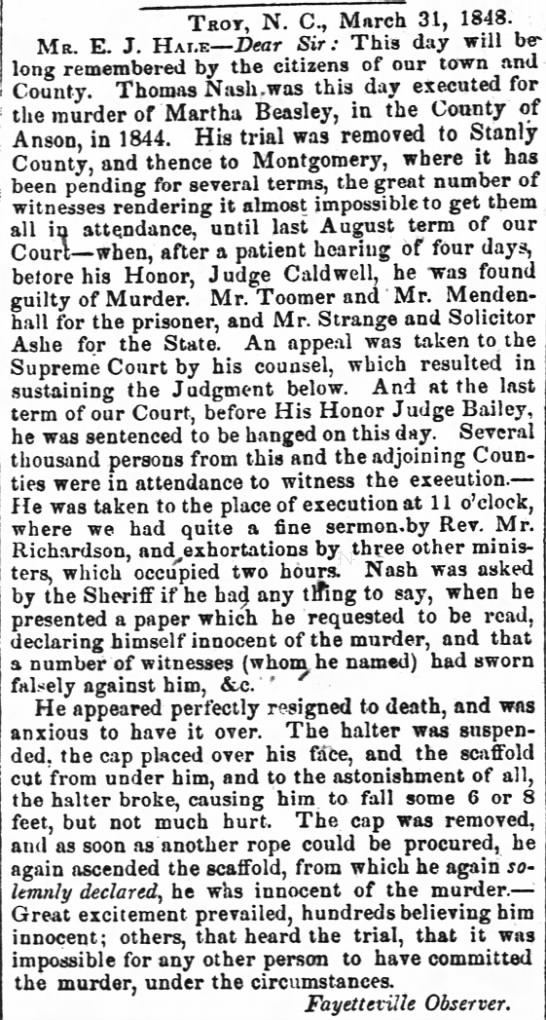 Thomas Nash execution date March 31, 1848 -