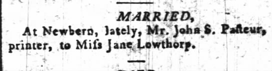 Jane Lowthorp Marriage -