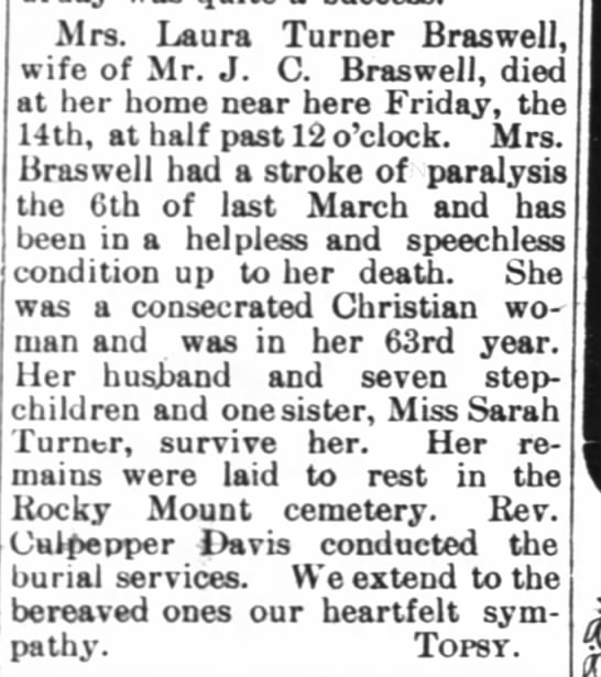 Braswell, Mrs. Laura Turner - death - wife of J.C. Braswell - Polkton -