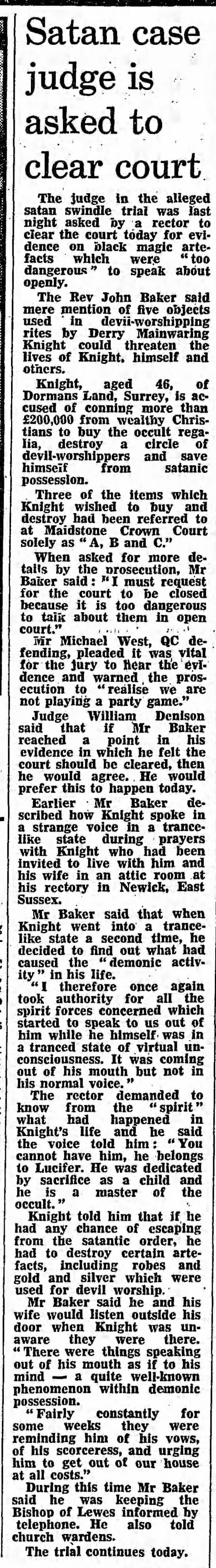 Peter Ball satanic artefacts Derry Mainwaring Knight trial - Eng- Satan case judge is asked to clear court...