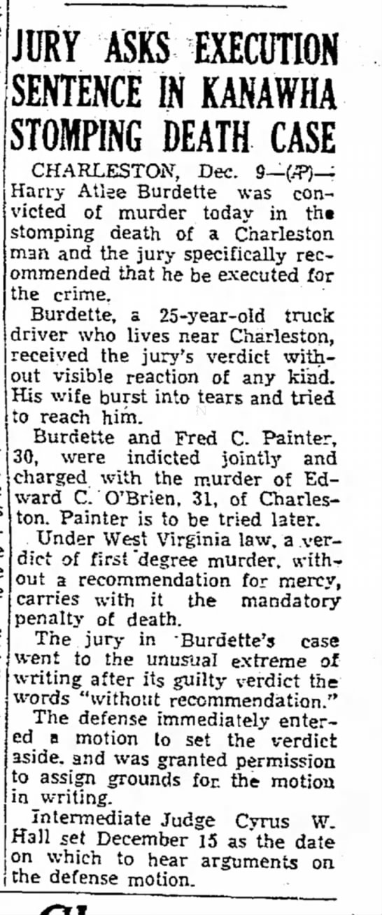 Harry Atlee Burdette - Beckley Post-Herald (Beckley, WVa) 10 Dec 1949 -
