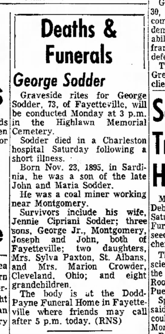 George Sodder, Sr.  - obituary -