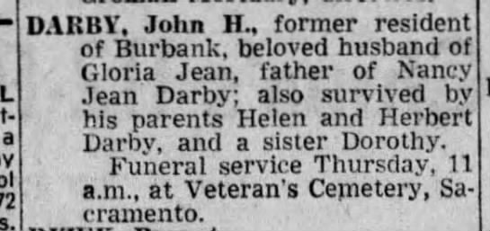 11/15/72 John Darby Obituary -