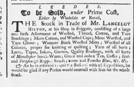 Worsted caps, black worsted mitts and worsted and yarn gloves 1758 England -