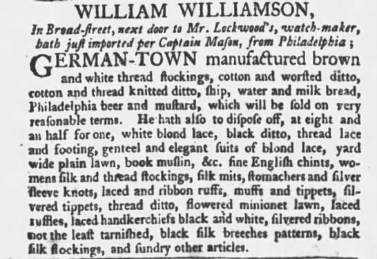 german town manufactured brown and white thread stocking and etc. 1767 -
