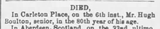 - DIED, In Carleton Place, on tbe 6th Inst., Mr....