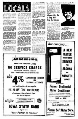The Algona Upper Des Moines from Algona, Iowa on January 18, 1966 · Page 2