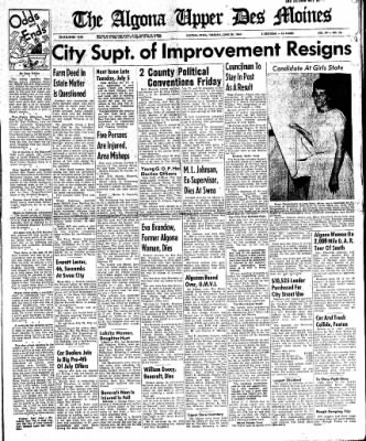 The Algona Upper Des Moines from Algona, Iowa on June 28, 1960 · Page 1