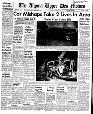 The Algona Upper Des Moines from Algona, Iowa on September 6, 1960 · Page 1