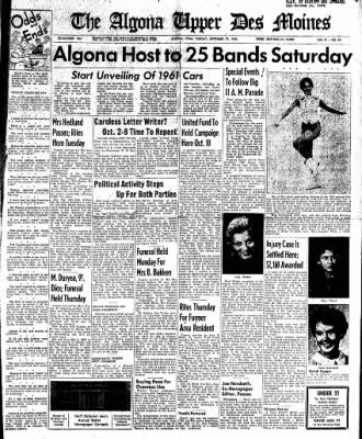 The Algona Upper Des Moines from Algona, Iowa on September 27, 1960 · Page 1