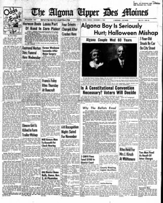 The Algona Upper Des Moines from Algona, Iowa on November 1, 1960 · Page 1