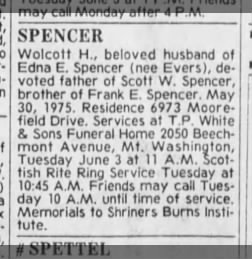 The Cincinnati Enquirer (Cin OH) 6/1/1975, Sun pg 41 - Wolcott Spencer obit