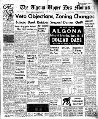 The Algona Upper Des Moines from Algona, Iowa on September 17, 1959 · Page 1