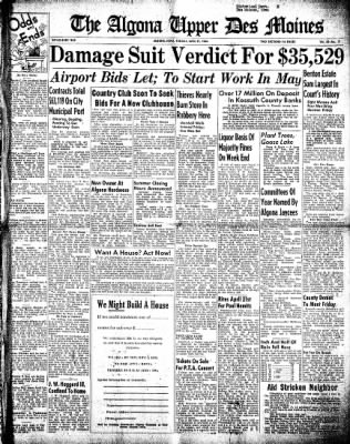 The Algona Upper Des Moines from Algona, Iowa on April 27, 1948 · Page 1