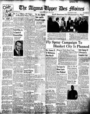 The Algona Upper Des Moines from Algona, Iowa on May 25, 1948 · Page 1