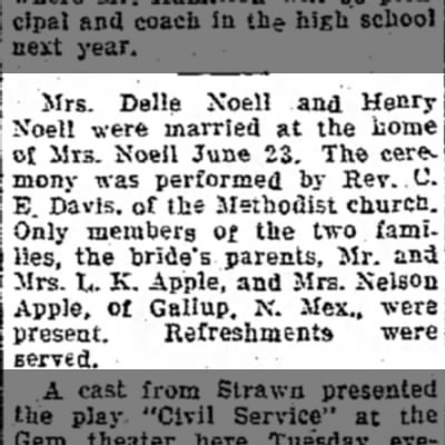 Delle and Henry Noell Marriage Announcement - The Emporia Gazette 3 Jul 1927 -