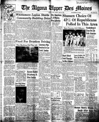 The Algona Upper Des Moines from Algona, Iowa on June 22, 1948 · Page 1